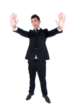 Isolated young business man scared photo