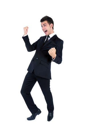 Isolated young business man happy photo
