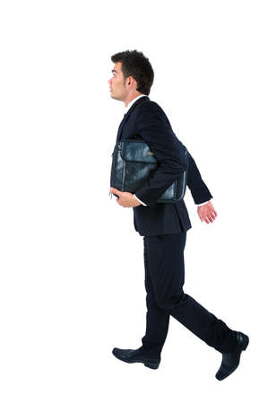 Isolated young business man late  photo