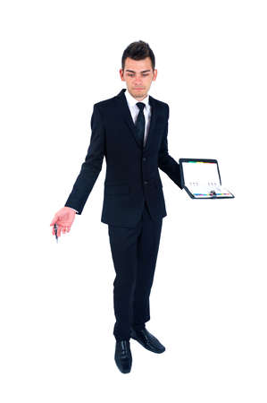 Isolated young business man with notebook photo