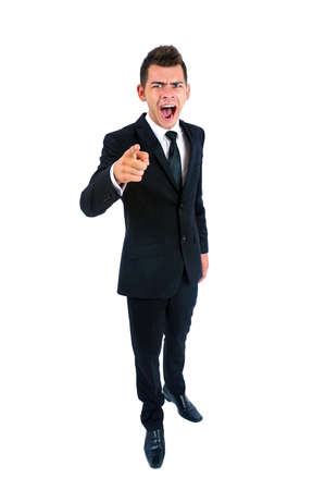Isolated young business man angry photo