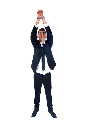 busted: Isolated young business man tied  Stock Photo