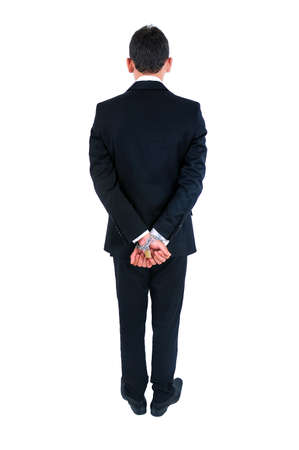 Isolated young business man tied  photo