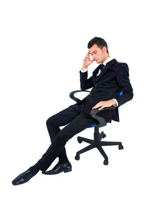 Isolated young business man depressive photo