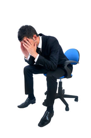 Isolated young business man depressive Stock Photo - 14664707
