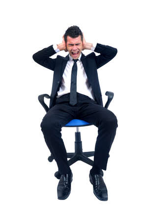 Isolated young business man with hand on ears photo