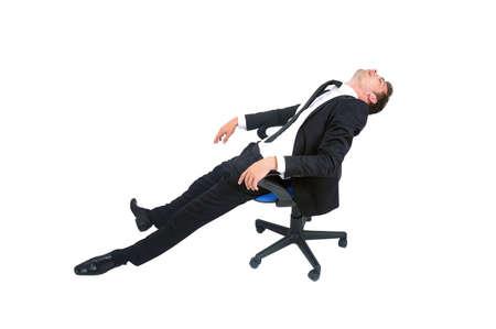 agotado: Aislado de negocios joven hombre durmiendo