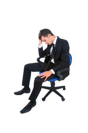 Isolated young business man unhappy photo
