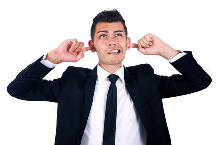 Isolated young business man not listening