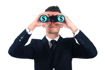 Isolated young business man search money photo