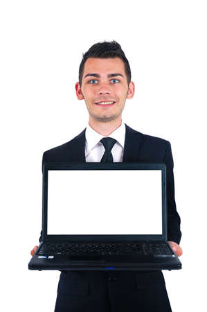 Isolated young business man presenting laptop photo