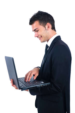 Isolated business man with laptop photo