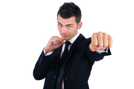 Isolated Young Business Man Boxing photo