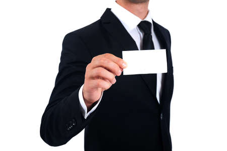 Isolated Man in suit showing business card photo
