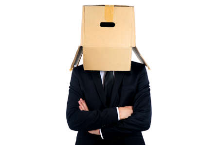 Business man with box on head photo