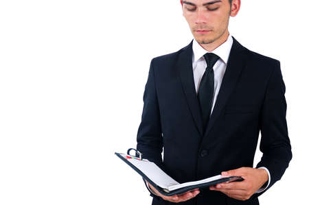 Isolated business man standing with notebook photo