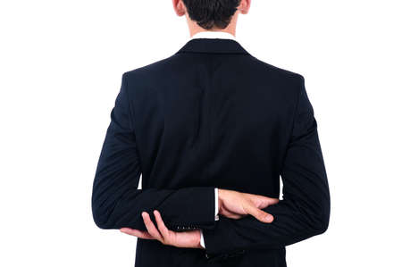 Isolated young business man back view photo