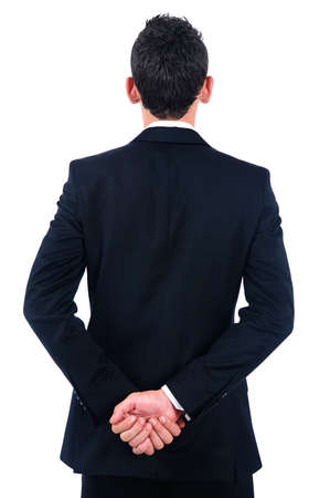 Isolated young business man back view