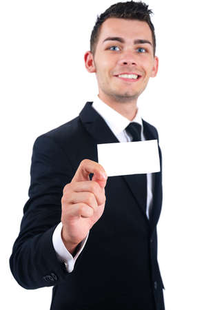 Isolated young business man presenting card photo