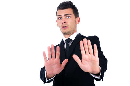 Isolated young business man refuse