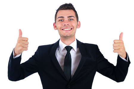 Isolated young business man approval photo