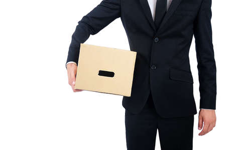 Isolated business man with box photo