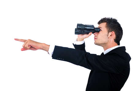 Isolated young business man with binocular photo