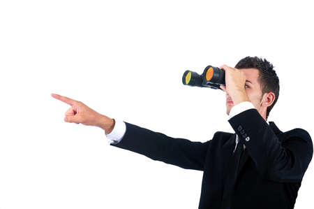 binocular: Isolated young business man with binocular