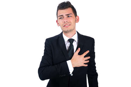 heartache: Isolated young business man heartache Stock Photo