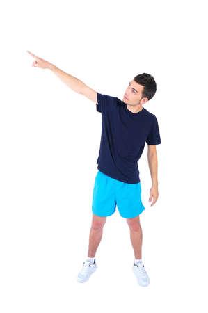 sport wear: Hombre aislado en el deporte llevan se�alando