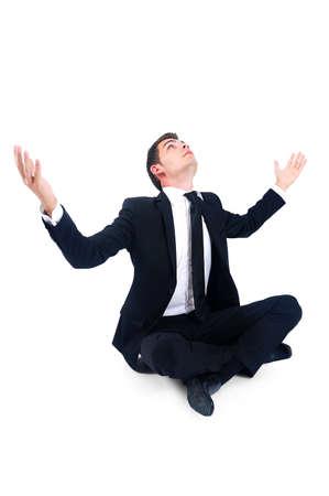 Hombre de negocios aislado esperamos con las manos arriba Foto de archivo