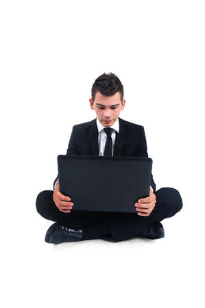 Isolated business man with notebook photo