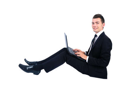 Business man at notebook Stock Photo