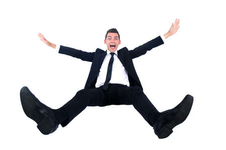 jumping businessman: Isolated business man very happy Stock Photo