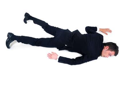 Geïsoleerde uitgeput zakenman op wit Stockfoto