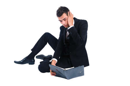 Isolated business man stressed with agenda Stock Photo - 14745879