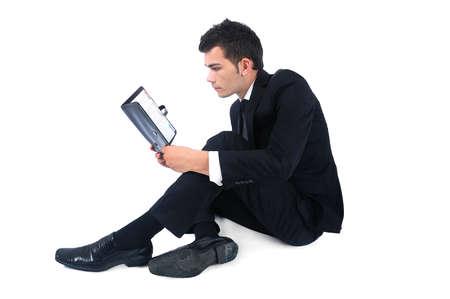 Hombre de negocios aislado con el programa