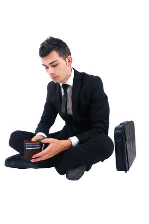 Isolated business man looking in wallet Stock Photo - 14745849