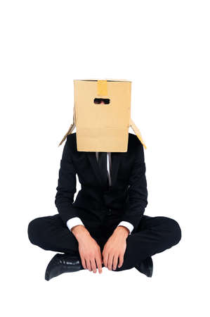 Isolated business man with box on head photo