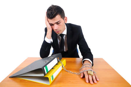 workaholic: Isolated business man workaholic at desk