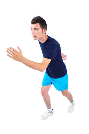 athletic wear: Isolated man in sport wear running Stock Photo