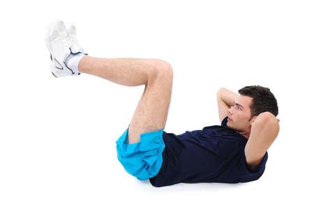 sport wear: Hombre aislado en el deporte ropa de ejercicio abdominales Foto de archivo