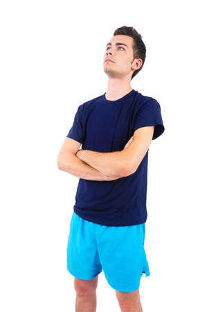 sport wear: El hombre aislado en el deporte desgaste de pie Foto de archivo