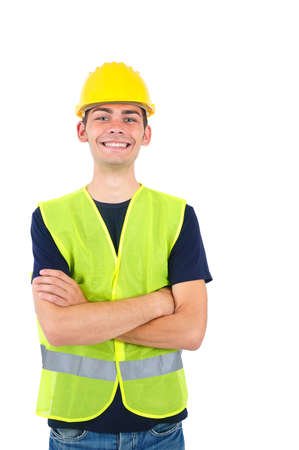 Isolated worker with helmet standing photo
