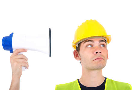 Isolated loudspeaker pointed at worker photo