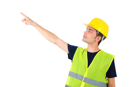pointed arm: Isolated worker with helmet pointing