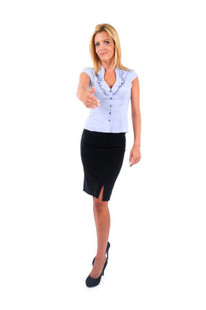 Isolated Young Business Woman Handshake photo