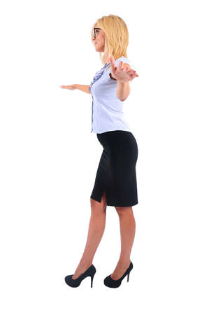 inconstant: Isolated Young Business Woman Walking on Rope