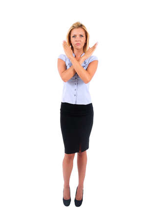 Isolated Young Business Woman Disapprove Stock Photo - 15349393