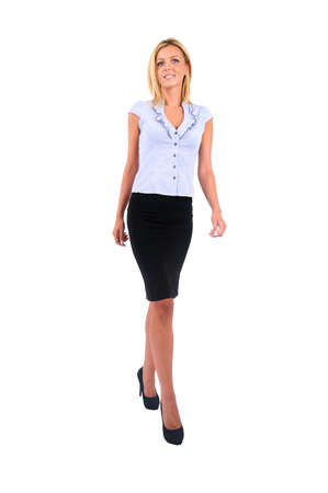 secretary skirt: Isolated Young Business Woman Walking